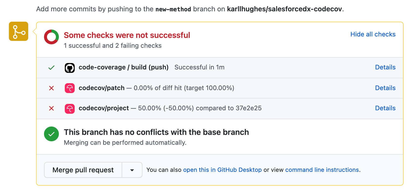 Pull request coverage report in GitHub