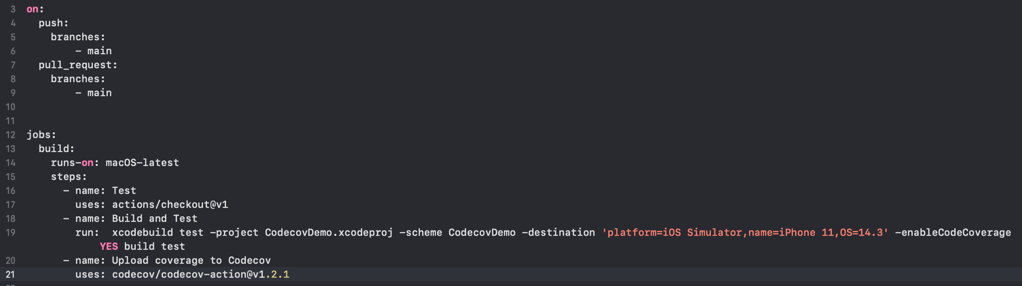 Adding Codecov to the .yml file