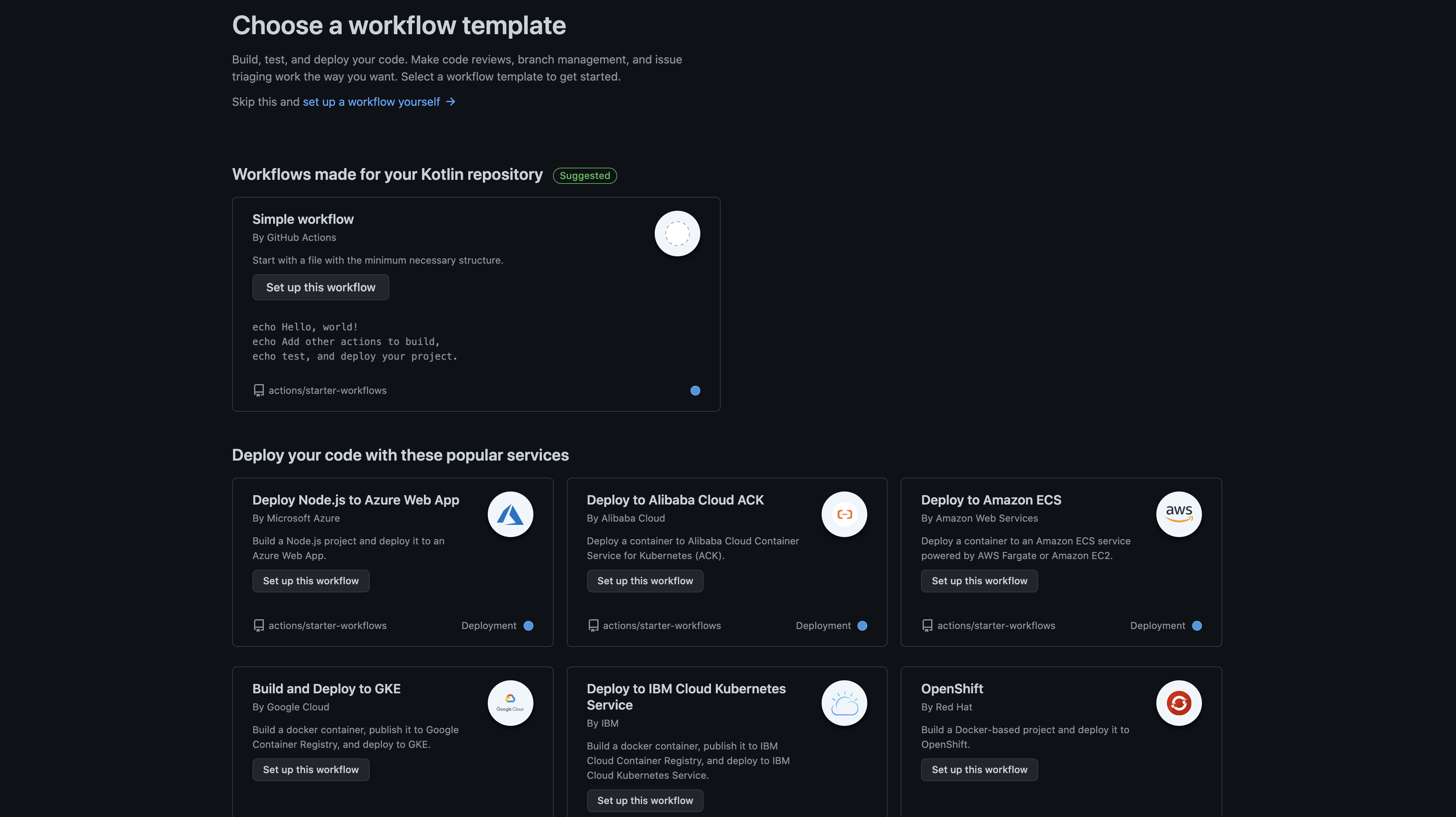 List of Github Actions workflow templates