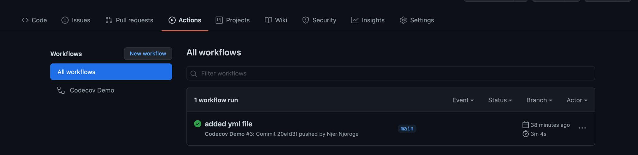 GitHub workflows view