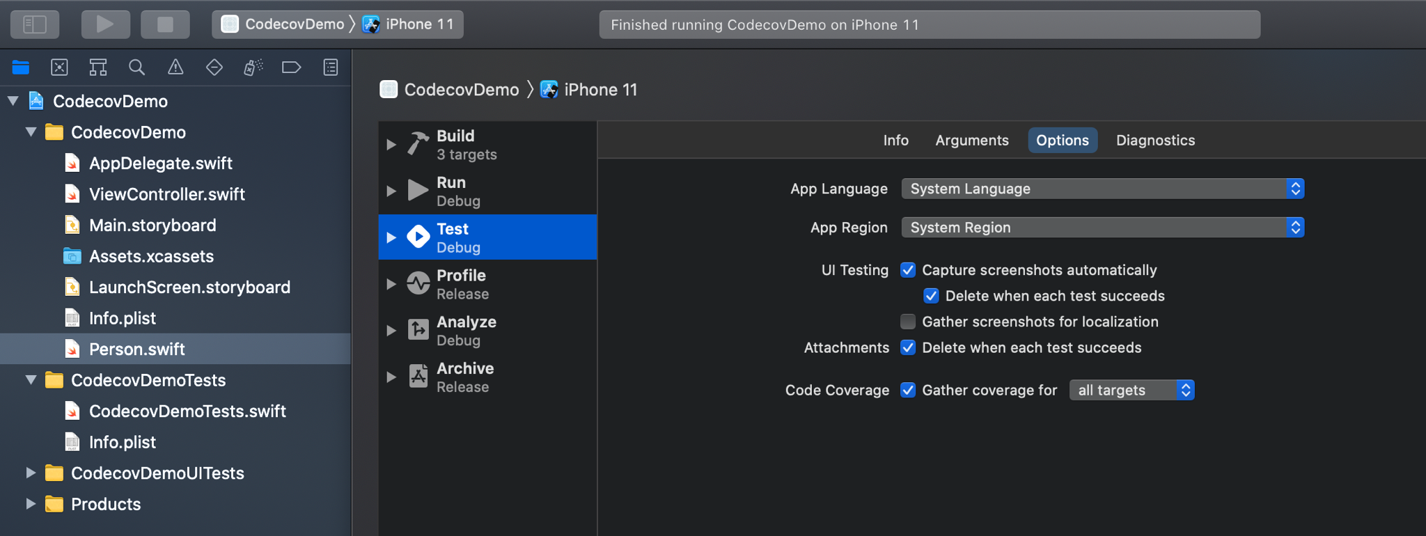 Adding test coverage in Xcode