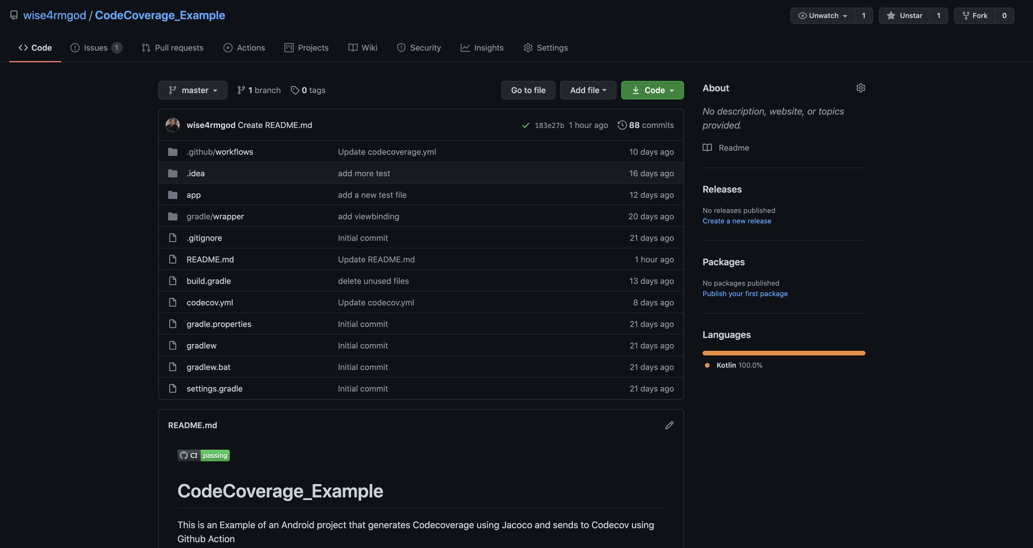 Sample code coverage GitHub project