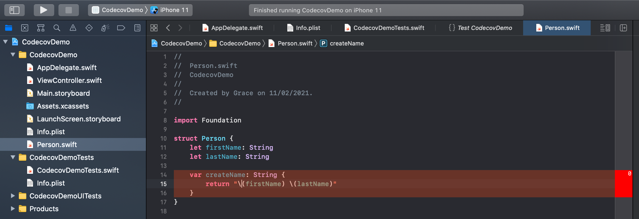 Viewing test coverage in Xcode