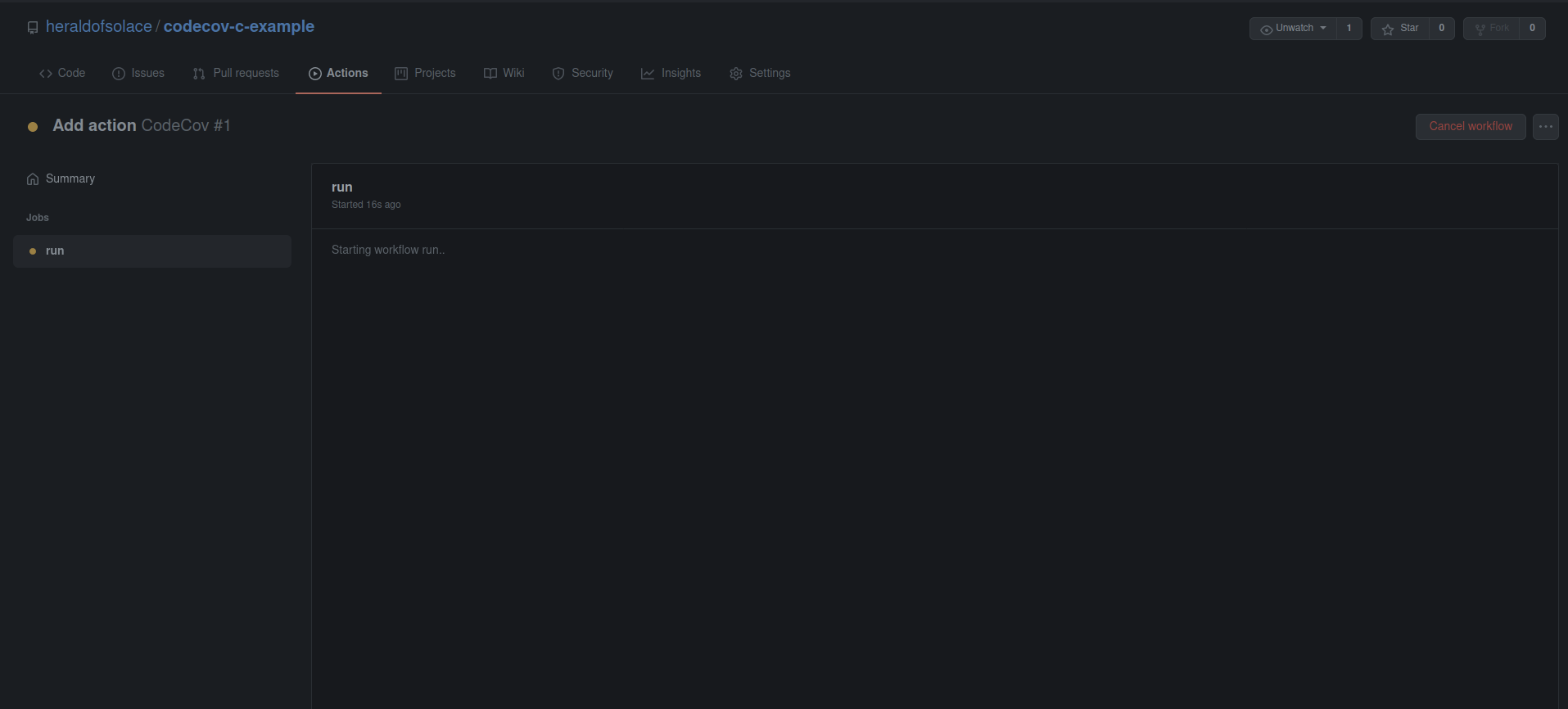 Actions tab showing progress