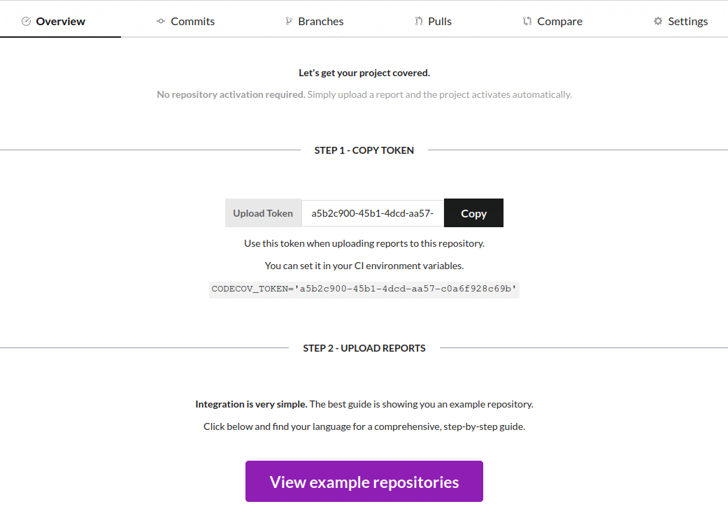Your Codecov dashboard and Upload Token