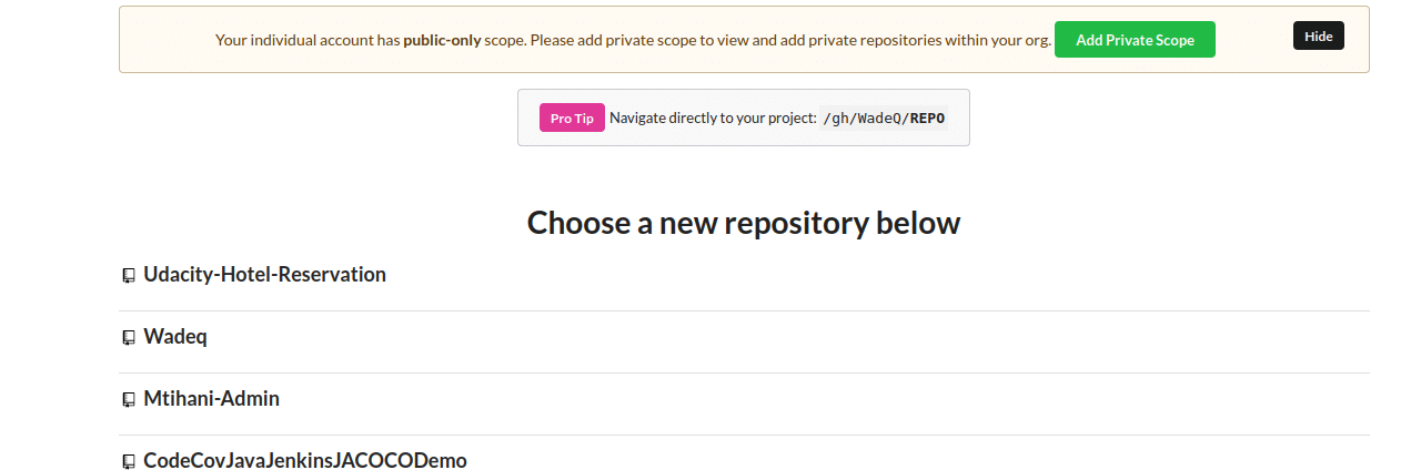 Selecting a repository for Codecov