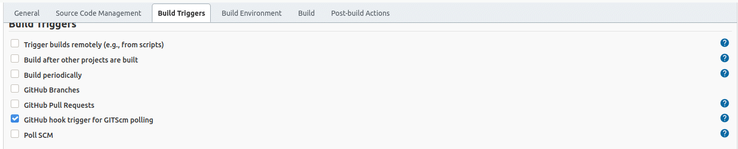 Selecting build triggers